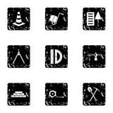 Building tools icons set, grunge style Stock Image