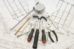 Building Tools On The House Project Royalty Free Stock Image