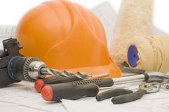 Building tools on the project royalty free stock images