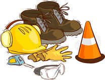 The building tools and protective means. Working boots, tools, building helmet, goggles ,meter gloves,. A vector image  The building tools and protective means Royalty Free Stock Photography