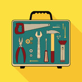 Building tools. Set of flat special building tools in suitcase, vector eps 10 Stock Photo