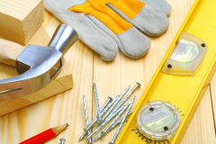 Building tools on table Royalty Free Stock Photography