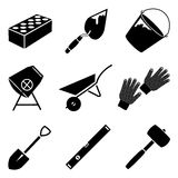 Building tools vector set. Monochrome icon vector set of building implements Stock Photo
