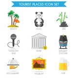 Building Tourism Icons Flat Royalty Free Stock Photo