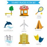 Building Tourism Icons Flat Royalty Free Stock Image