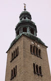 Building tower with cross in Salzburg. Austria in winter royalty free stock photography