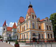 Building in town Trencianske Teplice Stock Image