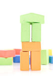 Building with Toy Blocks Royalty Free Stock Image