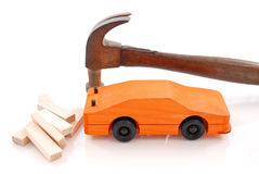Building a Toy Car. In Woodshop Royalty Free Stock Photography