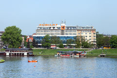 The building of trade center Jubilat on the Wisla's bank, Krakow Royalty Free Stock Image