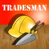 Building Tradesman Represents Home Improvement 3d Illustration. Building Tradesman Builders Hat Represents Home Improvement 3d Illustration Stock Images