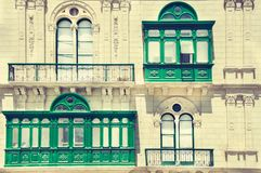 Building with traditional Maltese balconies. Valletta Stock Image