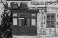 Traditional maltese window. Building with traditional maltese window decorated with fresh flowers. Black and white picture Stock Photography