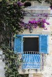Traditional maltese window. Building with traditional maltese window decorated with fresh flowers Stock Image