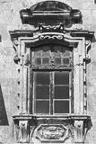 Maltese window in Valletta. Building with traditional maltese window in historical part of Valletta. Black and white picture Royalty Free Stock Image