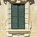 Maltese window in Valletta. Building with traditional maltese window in historical part of Valletta Stock Photos