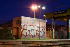 A building on a train station in rome. Night view of a building near the railway in rome, italy Stock Image