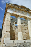 Building of Treasury of Athens in Ancient Greek archaeological site of Delphi, Greece Stock Photography