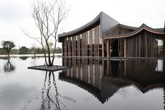 A Building and a tree with reflections by the lake royalty free stock photos