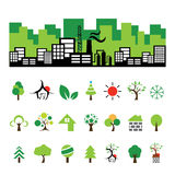 Building and tree symbol set Stock Photography