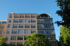 Building with trees. A building with trees and blue sky Royalty Free Stock Photos