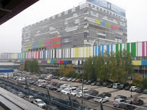 The building of the TV center Ostankino, decorated with a television test table image Royalty Free Stock Photo