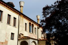 Building with two large fireplaces and particular in Treviso in the Veneto (Italy) Royalty Free Stock Image