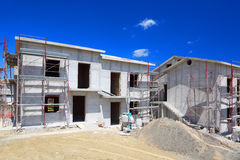 Building of two-story concrete house stock image
