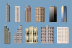 Building types object icon set. Building types object set, 11 high-rise buildings, Vector royalty free illustration