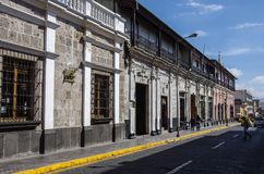 Building in Typical colonial architecture in the street of Arequipa, Peru stock image