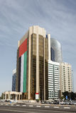 Building with UAE flag in Abu Dhabi Stock Photo