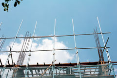 Building under construction. And blue sky in Myanmar Stock Photos