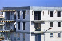 Building under construction. Of the new european apartments Royalty Free Stock Photo