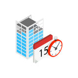 Building under construction, calendar, clock icon Stock Images