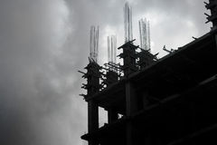 Building under construction at cloud sky, Siluate concept Stock Images