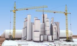 Building under construction. With crane. 3d render image Stock Photos