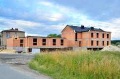 Building under construction. Construction of a new house made of bricks stock photo
