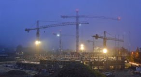 Building under construction. Night scenes Royalty Free Stock Image