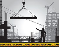 Building under construction silhouette. Stock Images