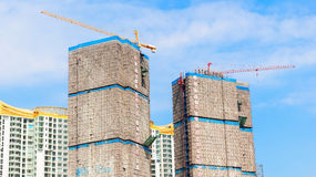 Building under construction site and blue sky Royalty Free Stock Photos