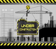 Building under construction site with sign board. Illustration of Building under construction site with sign board royalty free illustration