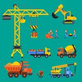 Building under construction vector crane and workers buildings construction technic illustration. Mixer truck builders Stock Photos