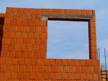 Building under construction. Wall tile just built by construction company Royalty Free Stock Photo