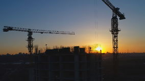 Building under construction with workers.  stock video footage