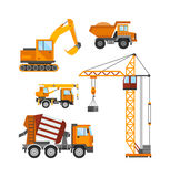 Building under construction, workers and construction technic vector illustration Royalty Free Stock Photos