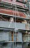 Building under reconstruction. wall insulation. metal structures for repair and construction works.  stock photography