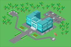 The building of the University in the isometric. A two-storey University building in isometric view. There is a gazebo with benches, a flag of the University stock illustration