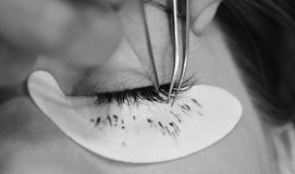 3D eyelash. Building up 3D eyelashes with silver Royalty Free Stock Images