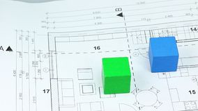 Building up two colored houses on the house blueprint stock footage