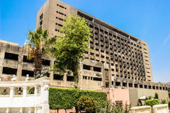The building used by the National Democratic Party of the ousted president Mubarak royalty free stock images